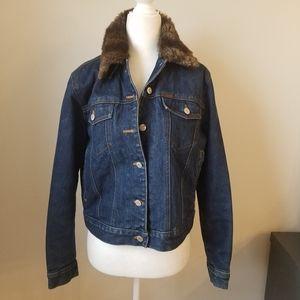 Ralph Lauren jean denim jacket with fur collar